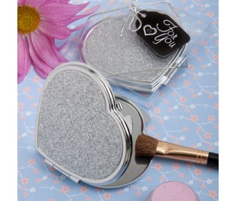 5938 <em>Classy  Compacts Collection </em>Heart Design Metal Compact Favors