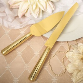 2526 Simple elegance classic gold stainless steel cake knife set
