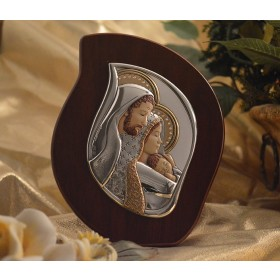 RL2300 Italian Silver Holy Family icon on a wood stand
