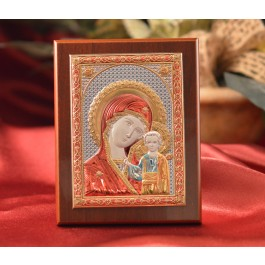 RL1530 Italian Silver Greek Orthodox Our Lady of Kazan color icon on a wood stand