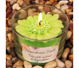 "RB7851AG ""Colorful Chrysanthemums"" Apple Green Colored Flower Shaped Scented Candle"