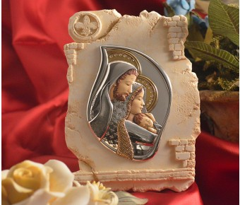 RL830 Italian Silver Holy Family icon on a Marble dust texture stand