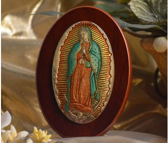 RL1230X Italian Silver Our Lady of Guadalupe Icon Made in Italy icon on a wood stands