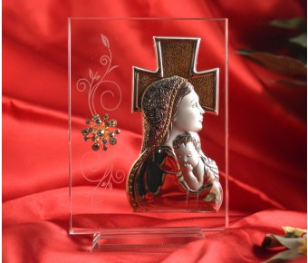 RL1640 Italian Silver Mother and Child icon on a glass stand