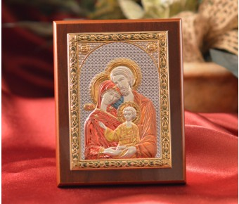RL1570 Italian Silver Greek Orthodox Holy Family color icon on a wood stand