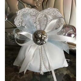 AF610 italian pouch with lace with silver charm favor Baptism Communion