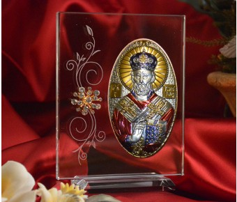 RL1100VX Italian Silver Greek Orthodox Saint Nicholas icon with colors on a glass stand