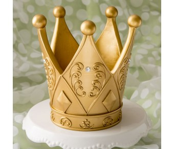 "2522 6"" tall Ornate Crown themed gold centerpiece"