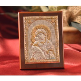 RL1540 Italian Silver Greek Orthodox Our Lady of Vladimir icon on a wood stand