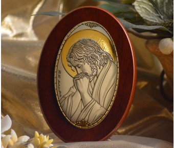 RL1220Italian Silver praying Jesus Icon Made in Italy icon on a wood stands