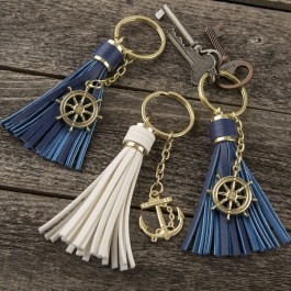 12870 Tassel key chains with Anchor or Ships wheel from gifts by fashioncraft