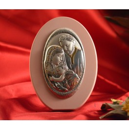 RL1780 Italian Silver Holy Family Icon Made in Italy icon on a wood stand (PINK)