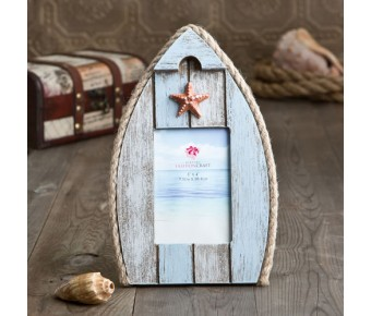 12137 glorious boat-shaped frame with star fish and rope 2 1/2 x 3 1/2