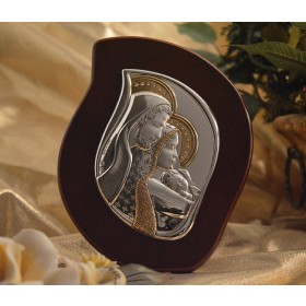 RL2100Italian Silver Holy Family icon on a wood stand