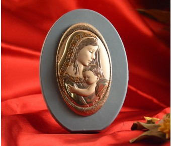 RL1740Italian Silver Mother and Child Icon Made in Italy icon on a wood stand (Baby Blue)