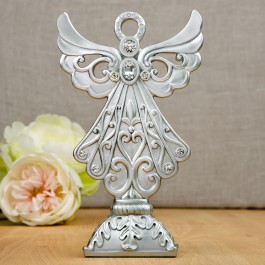 2506 Stunning Angel statue in silver poly resin from Fashioncraft
