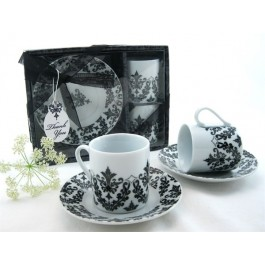 "A92011 ""Dramatic Damask"" Espresso Cup Favor Set"