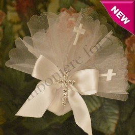 Organza Circle with Crosses and Rhinestone cross