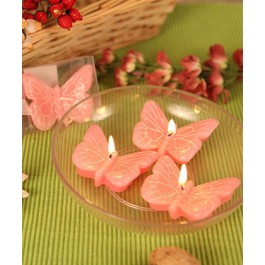 "RB7850PK ""Spring Cheer"" Pink Butterfly Candle Set (3)"
