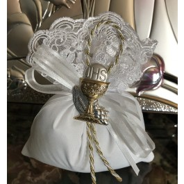 AF612 italian pouch with lace with silver chalice favor First Communion favor
