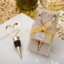 1966 Gold heart design metal bottle stopper from fashioncraft