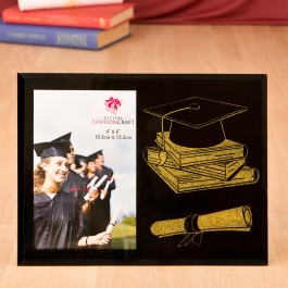 12229 Graduation Themed Glass Frame From Gifts By Fashioncraft