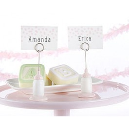 25246PK Classic Pink Baby Bottle Place Card Holder (Set of 6)
