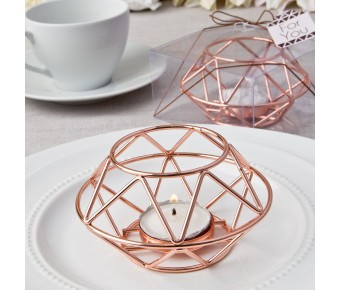 8742 Geometric design rose gold metal tealight candle holder from fashioncraft