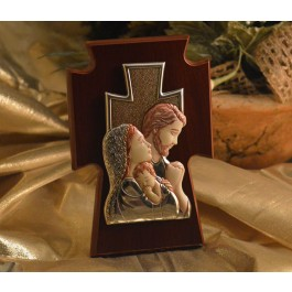 RL1430 Italian Silver Holy Family Color Icon on a wood stand Made in Italy