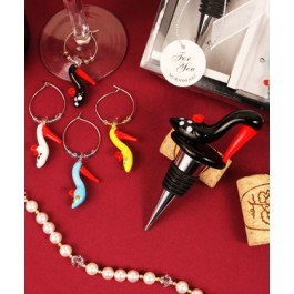 "RB1101 ""Bold in Black"" Arte Murano Shoe Bottle Stopper and Wine Charm Set"