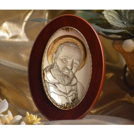 RL1200 Italian Silver Icon San Pio of Pietrelcina Made in Italy