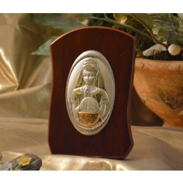 RL740Italian Silver First Communion Girl icon on a wood stand