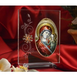 RL180VXItalian Silver Greek Orthodox Mother Mary icon with colors on a glass stand