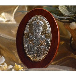 RL1100 Italian Silver Greek Orthodox Saint Nicholas icon on a wood stand