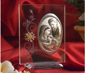 RL160VItalian Silver Holy Family icon on a glass stand