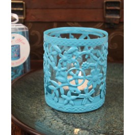 """RB1137 """"Glowing Garden"""" Blue Steel Candle Holder with Glass Cup and Tea Light Candle"""