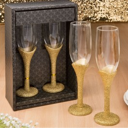 2471 Golden elegance collection set of 2 toasting glasses
