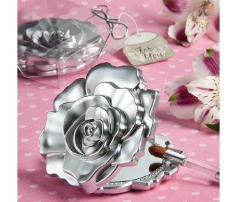 5945 Realistic Rose Design Mirror Compacts
