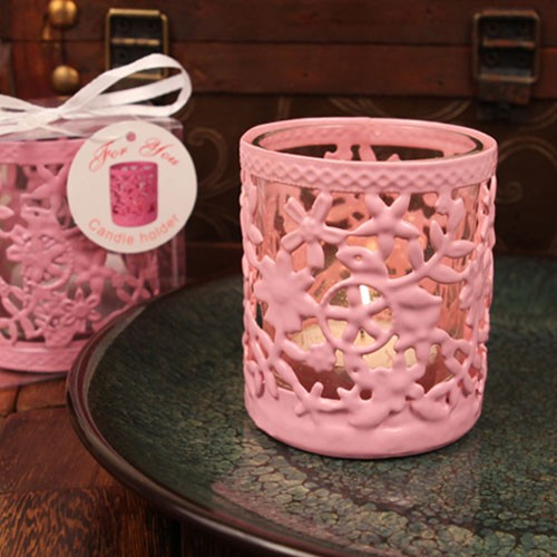 Pink Steel Candle Holder With Gl Cup