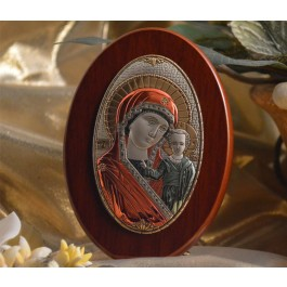 RL180X Italian Silver Greek Orthodox Mother Mary icon with colors on a wood stand