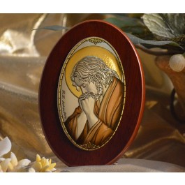 RL1220X Italian Silver praying Jesus Icon Made in Italy icon on a wood stands