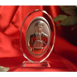 RL130VOItalian Silver First Communion Boy icon on a glass stand