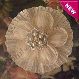 CF235 Italian Confetti Flower Bomboniere with Rhinestones and Pearls Brooch
