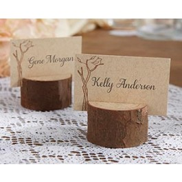22025NA Rustic Real-Wood Place Card/Photo Holder (Set of 4)