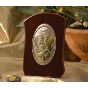 RL760 Italian Silver Holy Family icon on a wood stand