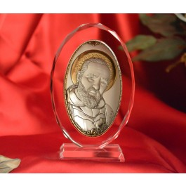 RL1200VO Italian Silver Icon San Pio of Pietrelcina Made in Italy