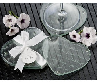 "A51025 ""Live Love Laugh…Forever"" Heart Glass Coasters (Set of 2)"
