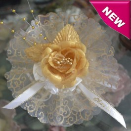 AF235 Organza circle with gold swirls and glitter