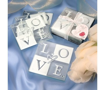 3928 Love Glass Coaster Set