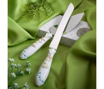 2417 Finishing Touches Collection Beach Themed Wedding Cake Knife And Server Set